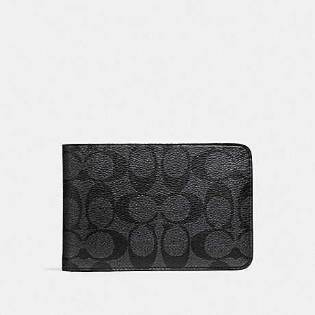 COACH SLIM TRAVEL WALLET IN SIGNATURE CANVAS - CHARCOAL/BLACK/BLACK ANTIQUE NICKEL - F37990