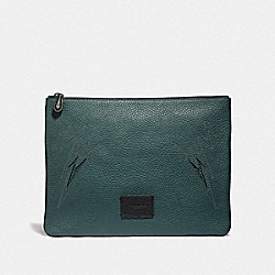 LARGE POUCH WITH CUT OUT - FOREST/BLACK ANTIQUE NICKEL - COACH F37991