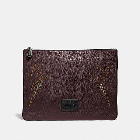 COACH LARGE POUCH WITH CUT OUT - OXBLOOD/BLACK ANTIQUE NICKEL - F37991