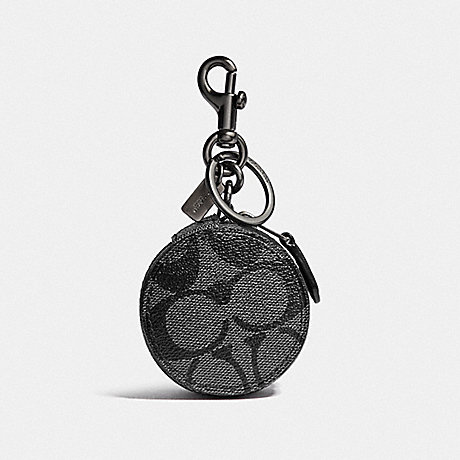 COACH MINI ZIP CASE IN SIGNATURE CANVAS - CHARCOAL/BLACK/BLACK ANTIQUE NICKEL - F37993