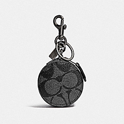 MINI ZIP CASE IN SIGNATURE CANVAS - CHARCOAL/BLACK/BLACK ANTIQUE NICKEL - COACH F37993