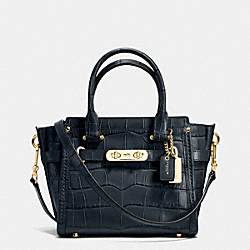 COACH SWAGGER 21 IN CROC EMBOSSED LEATHER - f37997 - LIGHT GOLD/NAVY