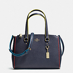 COACH STANTON CARRYALL 26 IN EDGESTAIN LEATHER - LIGHT GOLD/NAVY - F38001