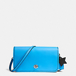 TURNLOCK CROSSBODY IN GLOVETANNED LEATHER - f38015 - SILVER/AZURE BLACK