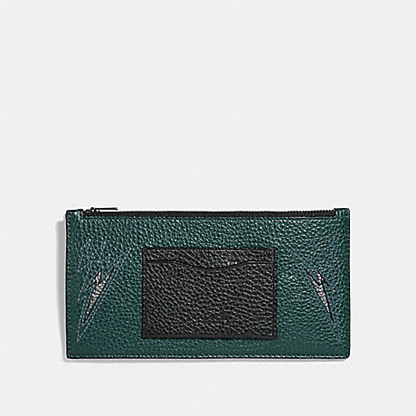 COACH ZIP PHONE WALLET WITH CUT OUTS - FOREST/BLACK ANTIQUE NICKEL - F38020