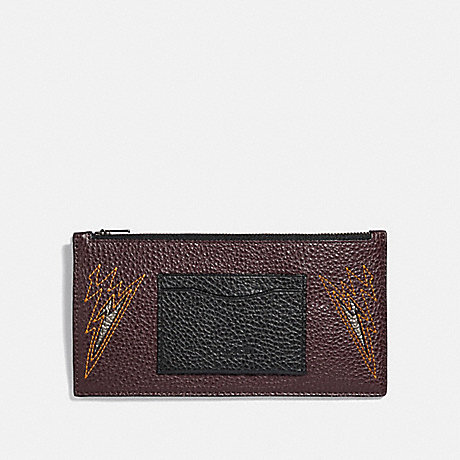 COACH ZIP PHONE WALLET WITH CUT OUTS - OXBLOOD/BLACK ANTIQUE NICKEL - F38020