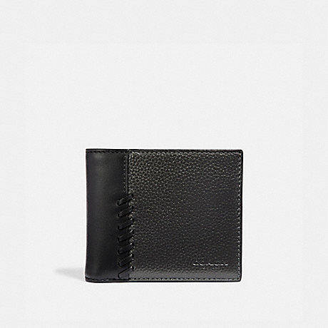 COACH 3-IN-1 WALLET WITH BASEBALL STITCH - METALLIC GUNMETAL/BLACK ANTIQUE NICKEL - F38021