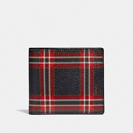 COACH DOUBLE BILLFOLD WALLET WITH SCRIPT PLAID PRINT - MIDNIGHT NAVY MULTI/BLACK ANTIQUE NICKEL - F38022