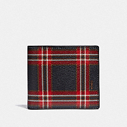 DOUBLE BILLFOLD WALLET WITH SCRIPT PLAID PRINT - MIDNIGHT NAVY MULTI/BLACK ANTIQUE NICKEL - COACH F38022