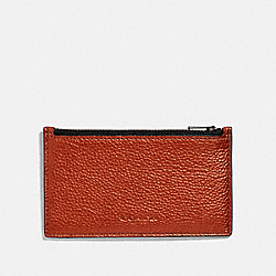 ZIP CARD CASE - METALLIC RUST/BLACK ANTIQUE NICKEL - COACH F38026