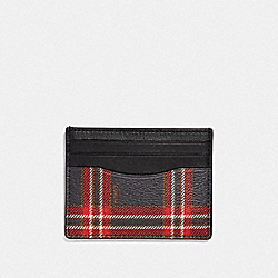 SLIM ID CARD CASE WITH SCRIPT PLAID PRINT - MIDNIGHT NAVY MULTI/BLACK ANTIQUE NICKEL - COACH F38029