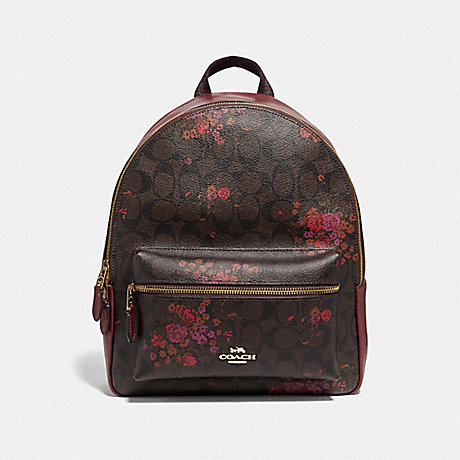 COACH MEDIUM CHARLIE BACKPACK IN SIGNATURE CANVAS WITH FLORAL BUNDLE PRINT - BROWN/METALLIC CURRANT/LIGHT GOLD - F38049