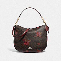 ELLE HOBO IN SIGNATURE CANVAS WITH FLORAL BUNDLE PRINT - BROWN/METALLIC CURRANT/LIGHT GOLD - COACH F38050