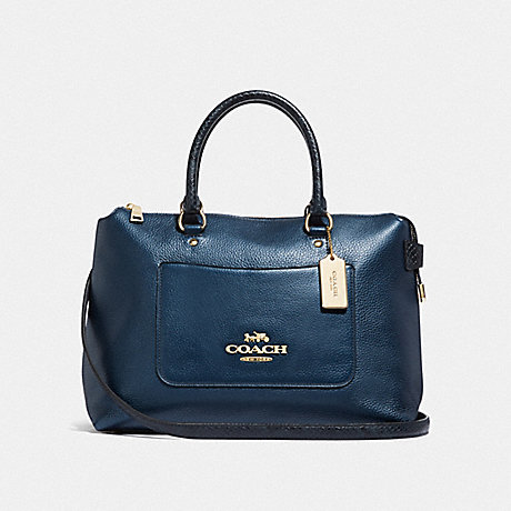 COACH EMMA SATCHEL - METALLIC DENIM/LIGHT GOLD - F38054
