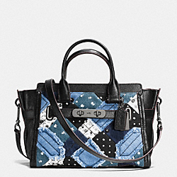 COACH COACH SWAGGER 27 IN CANYON QUILT DENIM - DARK GUNMETAL/DENIM SKULL PRINT - F38075