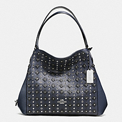 COACH EDIE SHOULDER BAG 31 IN FLORAL RIVETS LEATHER - SILVER/NAVY/BLACK - F38077