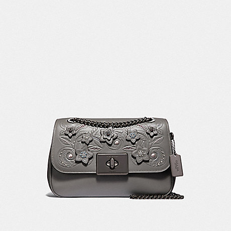 COACH CASSIDY CROSSBODY WITH FLORAL TOOLING - HEATHER GREY MULTI/BLACK ANTIQUE NICKEL - F38085