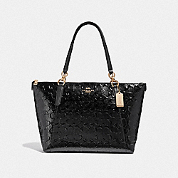 AVA TOTE IN SIGNATURE LEATHER - BLACK/BLACK/LIGHT GOLD - COACH F38090