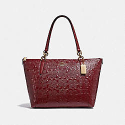 AVA TOTE IN SIGNATURE LEATHER - CHERRY /IMITATION GOLD - COACH F38090