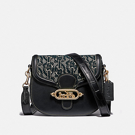 COACH ELLE SADDLE BAG WITH CHAIN PRINT - BLACK/LIGHT GOLD - F38111