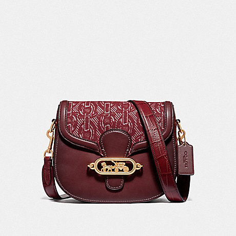 COACH ELLE SADDLE BAG WITH CHAIN PRINT - CLARET/LIGHT GOLD - F38111