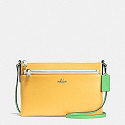 EAST/WEST CROSSBODY WITH POP UP POUCH IN COLORBLOCK LEATHER - f38122 - SILVER/CANARY MULTI