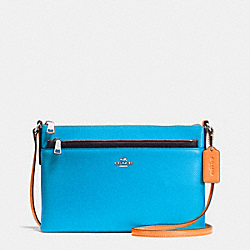 EAST/WEST CROSSBODY WITH POP UP POUCH IN COLORBLOCK LEATHER - f38122 - SILVER/AZURE MULTI