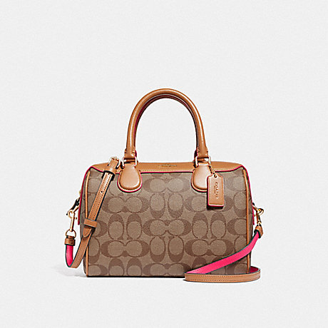 COACH MINI BENNETT SATCHEL IN SIGNATURE CANVAS - KHAKI/NEON PINK/LIGHT GOLD - F38133