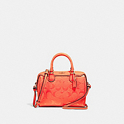 MICRO BENNETT SATCHEL IN SIGNATURE LEATHER - NEON ORANGE/LIGHT GOLD - COACH F38138
