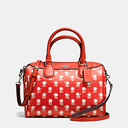 MINI BENNETT SATCHEL IN BADLANDS FLORAL PRINT COATED CANVAS - f38160 - SILVER/CARMINE MULTI