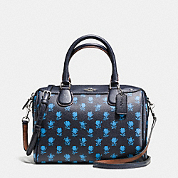 MINI BENNETT SATCHEL IN BADLANDS FLORAL PRINT COATED CANVAS - f38160 - SILVER/MIDNIGHT MULTI