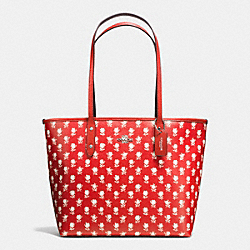 COACH CITY ZIP TOTE IN BADLANDS FLORAL PRINT COATED CANVAS - SILVER/CARMINE MULTI - F38161