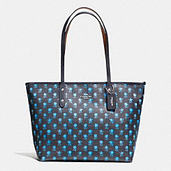 COACH CITY ZIP TOTE IN BADLANDS FLORAL PRINT COATED CANVAS - SILVER/MIDNIGHT MULTI - F38161