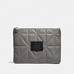 LARGE MULTIFUNCTIONAL POUCH WITH QUILTING - HEATHER GREY/BLACK - COACH F38164