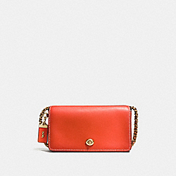 COACH DINKY IN BURNISHED GLOVETANNED LEATHER - OLD BRASS/PEPPER - F38185