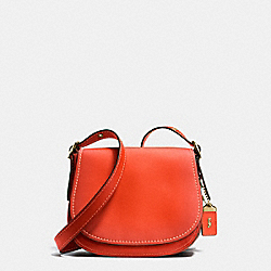 COACH SADDLE 23 IN BURNISHED GLOVETANNED LEATHER - OLD BRASS/PEPPER - F38198