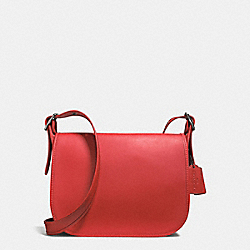 PATRICIA SADDLE BAG IN SMOOTH LEATHER - BLACK ANTIQUE NICKEL/WATERMELON - COACH F38247