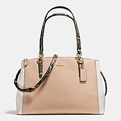 COACH CHRISTIE CARRYALL IN CROSSGRAIN LEATHER WITH EXOTIC-EMBOSSED TRIM - IMITATION GOLD/BEECHWOOD MULTI - F38249