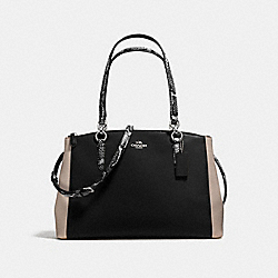 COACH CHRISTIE CARRYALL IN CROSSGRAIN LEATHER WITH EXOTIC-EMBOSSED TRIM - SILVER/BLACK MULTI - F38249