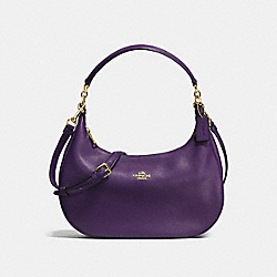 HARLEY EAST/WEST HOBO IN PEBBLE LEATHER - IMITATION GOLD/AUBERGINE - COACH F38250