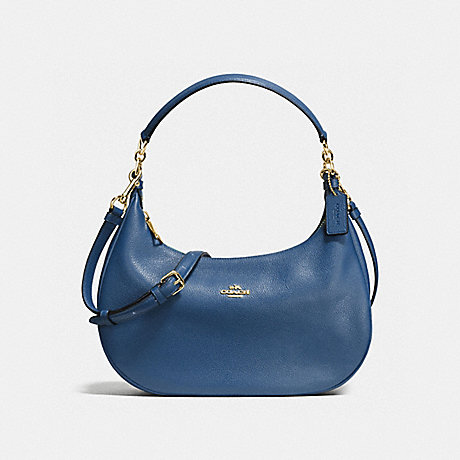COACH HARLEY EAST/WEST HOBO IN PEBBLE LEATHER - IMITATION GOLD/MARINA - f38250