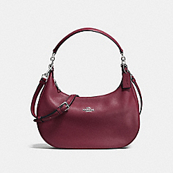 COACH HARLEY EAST/WEST HOBO IN PEBBLE LEATHER - SILVER/BURGUNDY - F38250