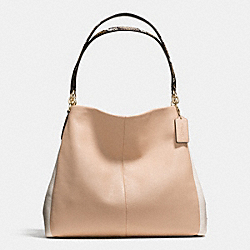 PHOEBE SHOULDER BAG IN EXOTIC EMBOSSED LEATHER TRIM - f38251 - IMITATION GOLD/BEECHWOOD MULTI