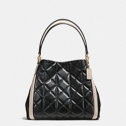 PHOEBE SHOULDER BAG IN QUILTED COLORBLOCK LEATHER - f38257 - IMITATION GOLD/BLACK/GREY BIRCH