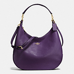 HARLEY HOBO IN PEBBLE LEATHER - IMITATION GOLD/AUBERGINE - COACH F38259