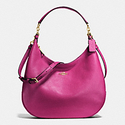 COACH HARLEY HOBO IN PEBBLE LEATHER - IMITATION GOLD/FUCHSIA - F38259