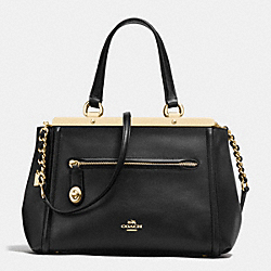 LEX SATCHEL IN SMOOTH LEATHER - f38260 - IMITATION GOLD/BLACK