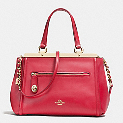 LEX SATCHEL IN SMOOTH LEATHER - f38260 - IMITATION GOLD/TRUE RED