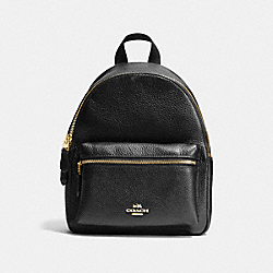 COACH MINI CHARLIE BACKPACK IN PEBBLE LEATHER - IMITATION GOLD/BLACK - F38263