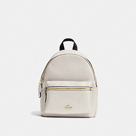 COACH MINI CHARLIE BACKPACK IN PEBBLE LEATHER - IMITATION GOLD/CHALK - f38263
